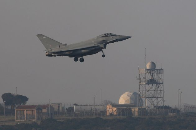 A fighter jet prepares to land at RAF Akrotiri, from which British jets struck