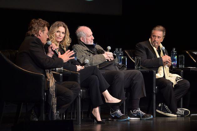 Steven Bauer, Michelle Pfeiffer, Brian De Palma and Al Pacino on the