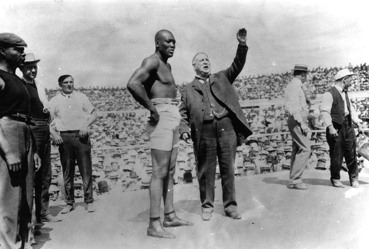 Jack Johnson, before his successful title defense against ''The Great White Hope'' James J. Jeffries in Reno, Nevada on July