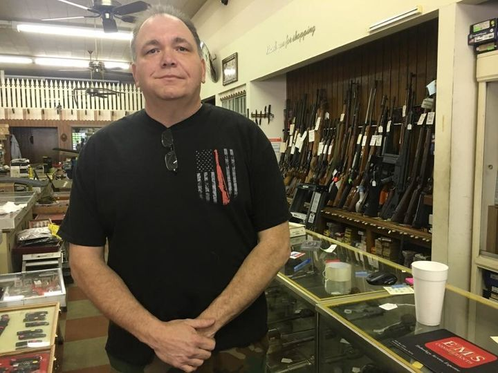Newnan resident Jeff Nelms went to his friend's gun store during the rally on Saturday to make sure no one vandalized it