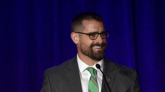 NEW YORK, NY - MAY 11:  Brian Sims speaks onstage during the Family Equality Council's 2015 Night At The Pier at Pier 60 on May 11, 2015 in New York City.  (Photo by Jamie McCarthy/Getty Images for Family Equality Council)
