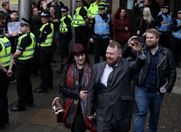 Mark Meechan leaves Airdrie Sheriff Court where he appeared for sentencing for posting a YouTube video...