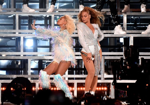 Solance Knowles and Beyonce, pictured during their Coachella performance, laughed off an onstage