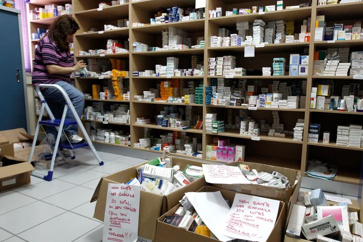 Donated medicines at a makeshift pharmacy set up at a medical centre in Athens.