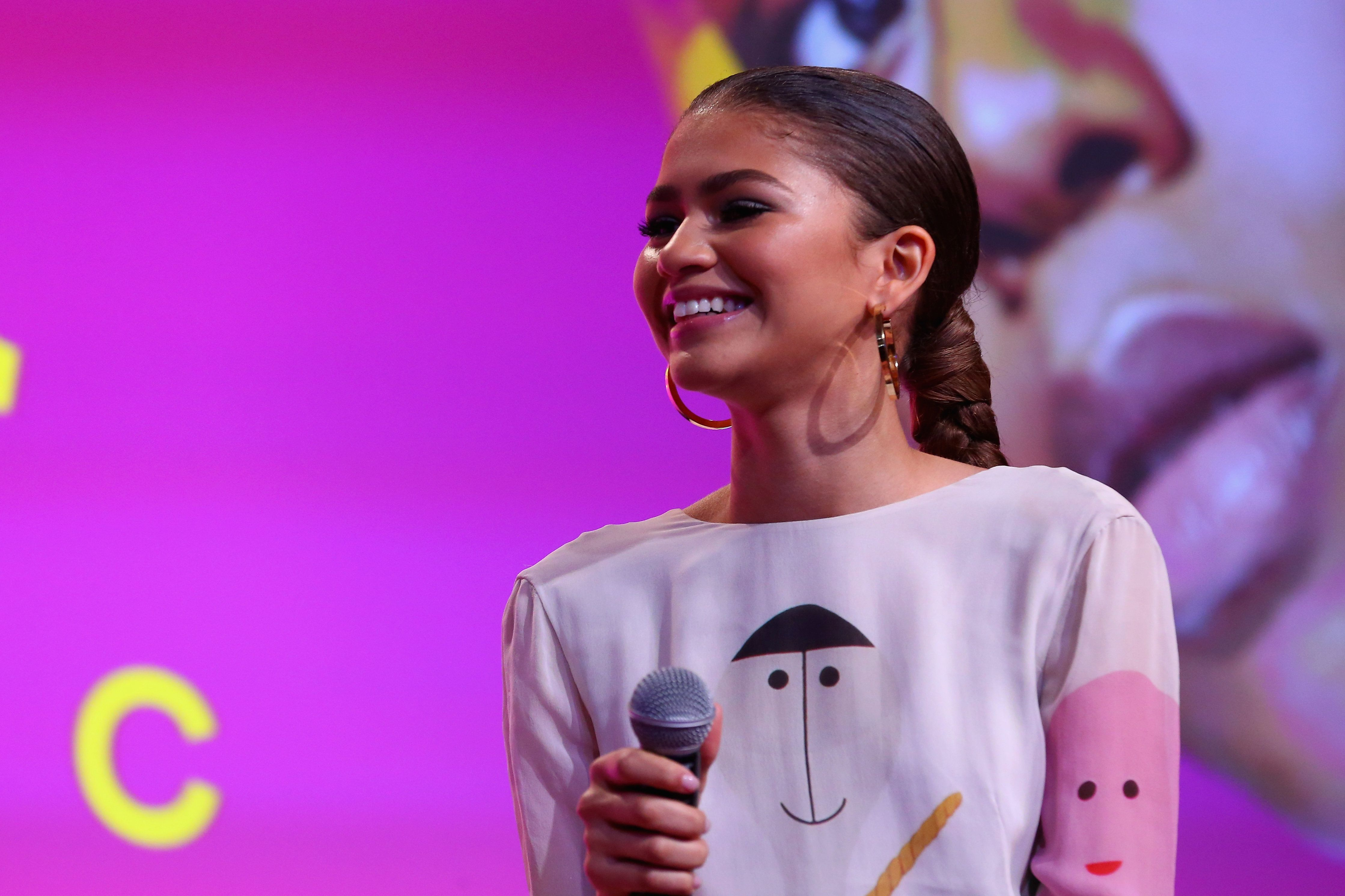 NEW YORK, NY - APRIL 22:  Actor Zendaya speaks on a panel during Beautycon Festival NYC 2018 - Day 2 at Jacob Javits Center on April 22, 2018 in New York City.  (Photo by Paul Zimmerman/Getty Images for Beautycon)