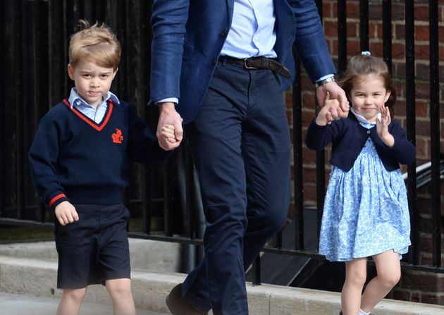 Prince George, William and Princess Charlotte arrive at St. Mary's
