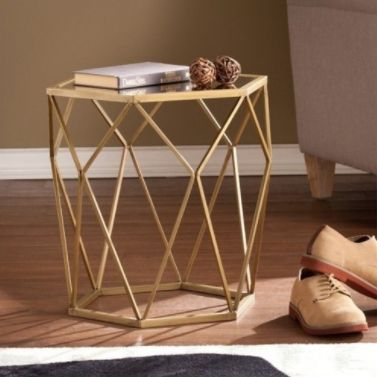 """Get it on <a href=""""https://jet.com/product/Pemberly-Row-Geometric-Accent-End-Table-in-Gold/a22e700176cf4ae380a042826d664815"""""""