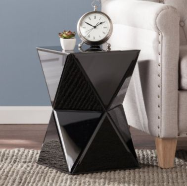 """Get it on <a href=""""https://jet.com/product/Southern-Enterprises-Justine-Black-Mirrored-Accent-Table/7454b50662c34d7b812c7e652"""