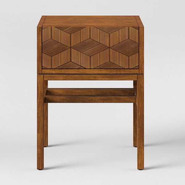 """Get it from <a href=""""https://www.target.com/p/tachuri-geometric-front-accent-table-brown-opalhouse-153/-/A-53021656"""" target="""""""