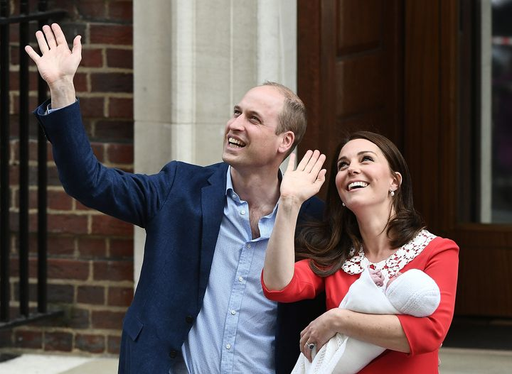 Will and Kate depart the hospital with their third child.