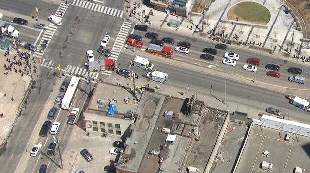 Aerial view of the scene of Monday's incident in central Toronto.