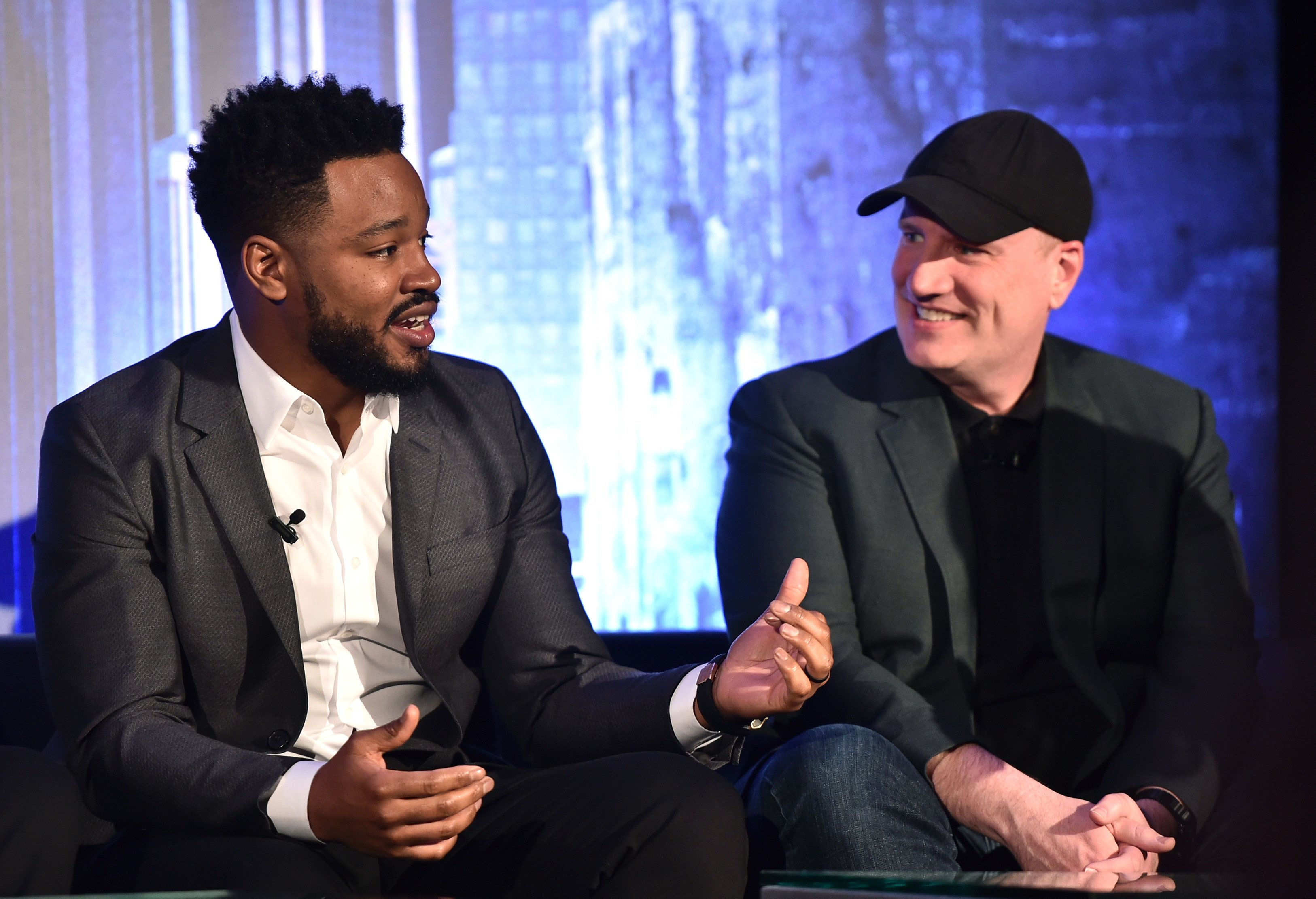BEVERLY HILLS, CA - JANUARY 30: Director Ryan Coogler (L) and President of Marvel Studios Kevin Feige attend the Marvel Studios' BLACK PANTHER Global Junket Press Conference on January 30, 2018 at Montage Beverly Hills in Beverly Hills, California.  (Photo by Alberto E. Rodriguez/Getty Images for Disney)