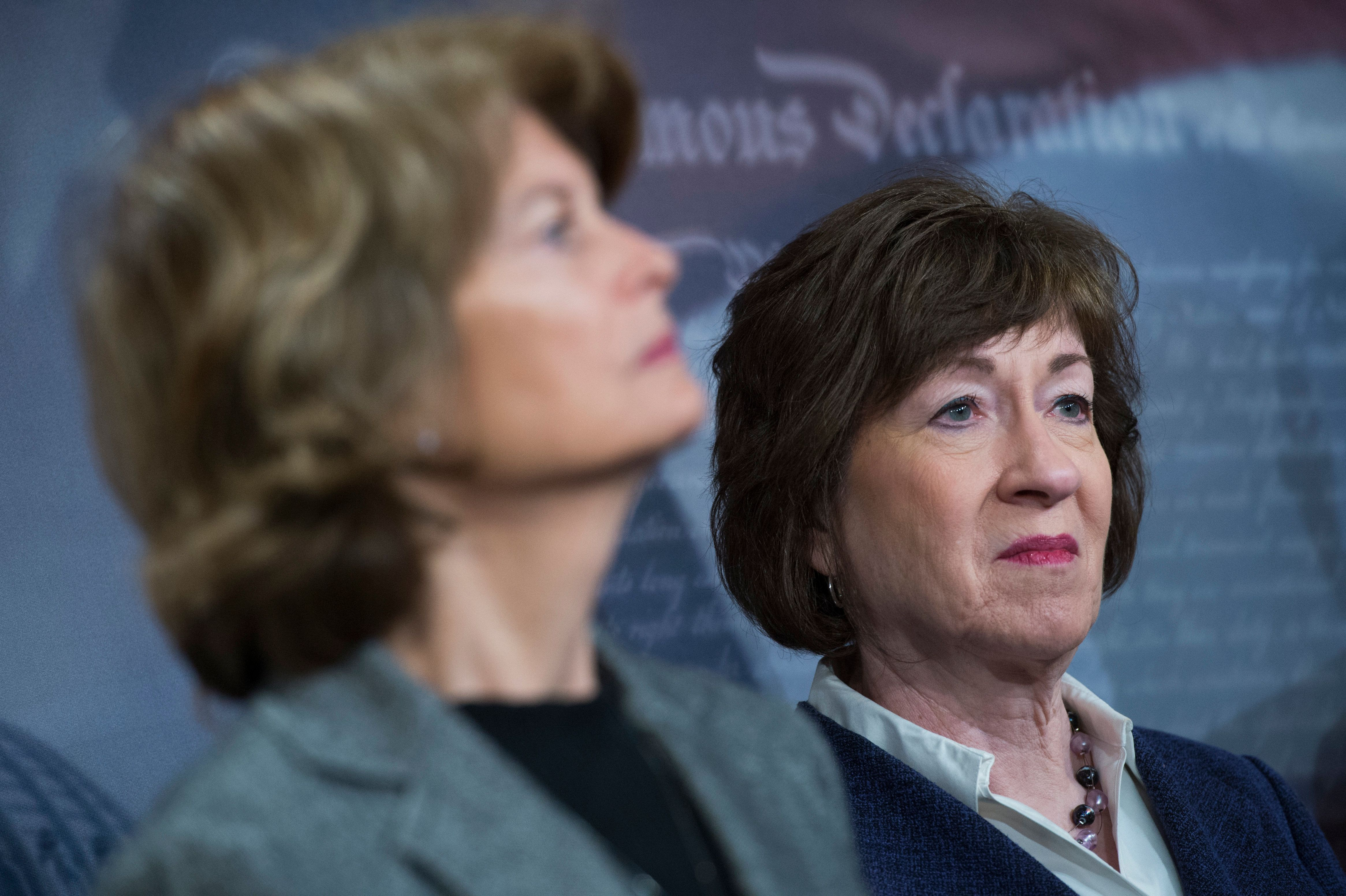 UNITED STATES - MARCH 21: Sens. Susan Collins, R-Maine, right, and Lisa Murkowski, R-Alaska, conduct a news conference in the Capitol on legislation to lower health insurance premiums for citizens who pay out of pocket on March 21, 2018. (Photo By Tom Williams/CQ Roll Call)