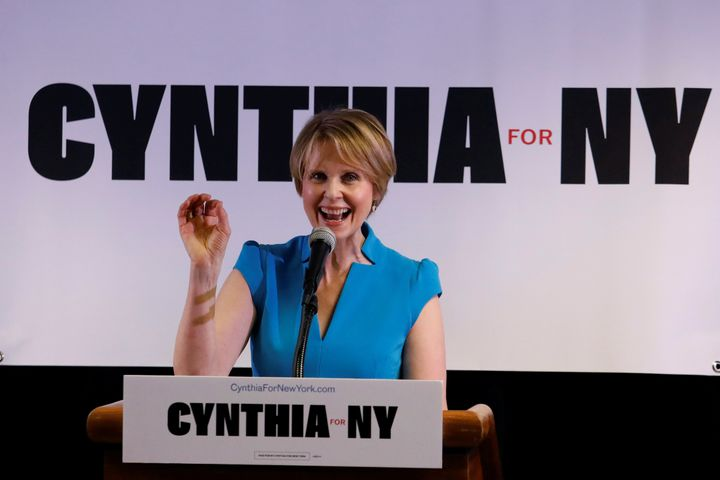 Cynthia Nixon, who is challenging Cuomo in September's Democratic primary, unveiled a climate platform Friday that