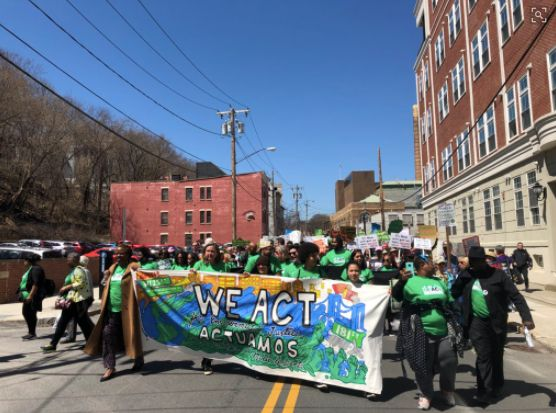 Protesters march through Albany on Monday.