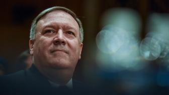 WASHINGTON, DC - APRIL 12: Mike Pompeo, nominated by Donald Trump as Secretary of State to replace Rex Tillerson, sits for a confirmation hearing with the Senate Foreign Relations Committee at the Dirksen Building on Thursday, April 12, 2018, in Washington, DC.  His stances on crucial foreign policy matters and his close relationship with Donald Trump have drawn questions about his fitness for the Secretary of State position. (Photo by Jahi Chikwendiu/The Washington Post via Getty Images)