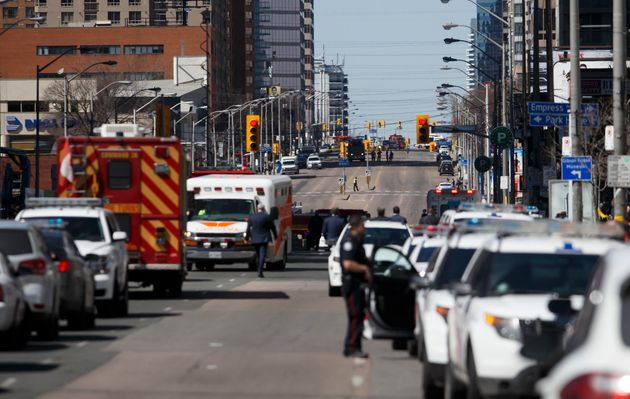 Law enforcement and first responders on scene at Yonge St. at Finch Ave. after a van plows into
