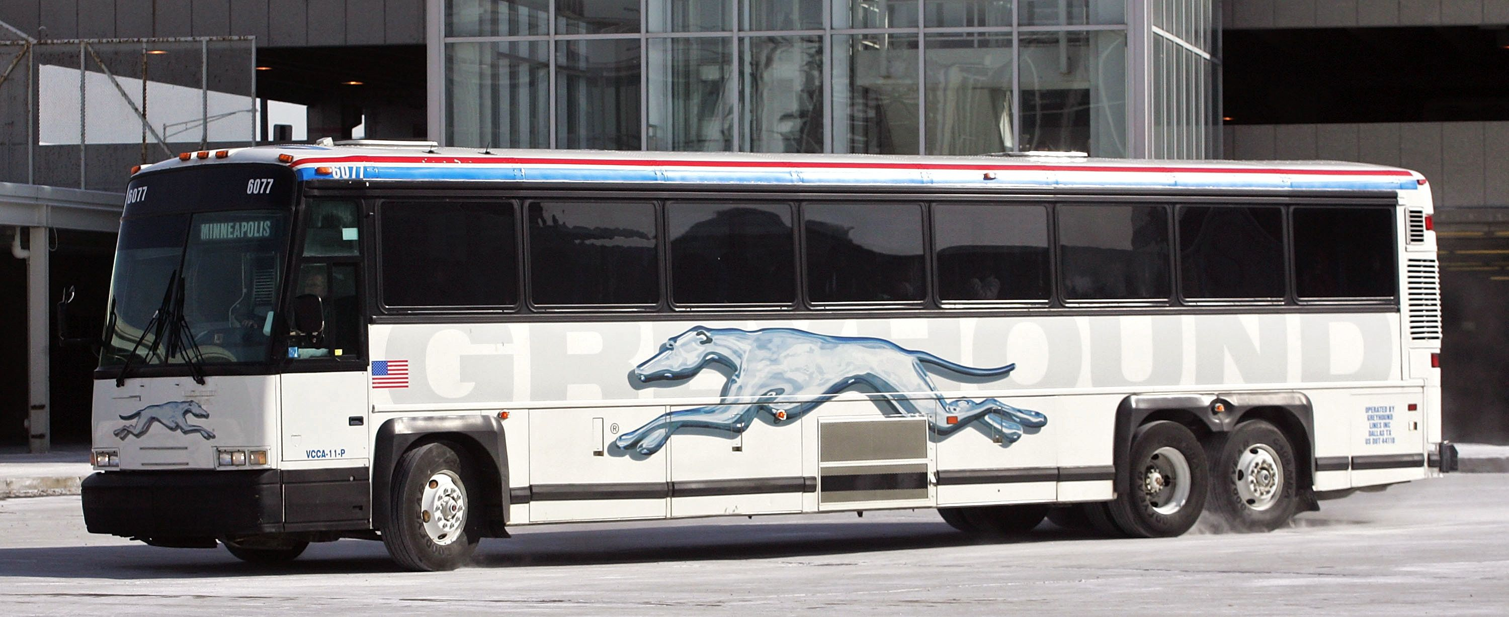 UNITED STATES - FEBRUARY 09:  A Greyhound bus enroute to Minneapolis in Chicago, Illinois, Friday, Feb. 9, 2007. Britain's FirstGroup Plc agreed to buy Laidlaw International Inc., owner of the largest U.S. school-bus company and the Greyhound bus service, for $3.6 billion to triple revenue in North America.  (Photo by Tim Boyle/Bloomberg via Getty Images)