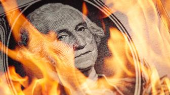 One Dollar Bill in fire. Financial crisis concept.