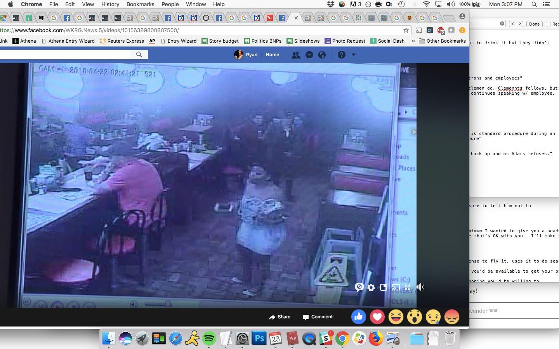 Astilltaken from a Waffle House surveillance video shows Chikesia Clemons approaching the restaurant's front coun