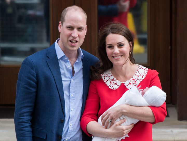 The Duke and Duchess of Cambridge with their newborn son.
