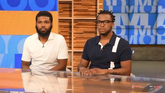 GOOD MORNING AMERICA - Rashon Nelson and Donte Robinson, the two men arrested at a Starbucks, tell their story on 'Good Morning America,' Thursday, April 19, 2018, airing on the ABC Television Network.  (Photo by Lorenzo Bevilaqua/ABC via Getty Images) RASHON NELSON, DONTE ROBINSON