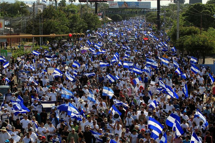 Demonstrators protested against police violence and the government of Nicaraguan President Daniel Ortega in Managua, Nicaragu