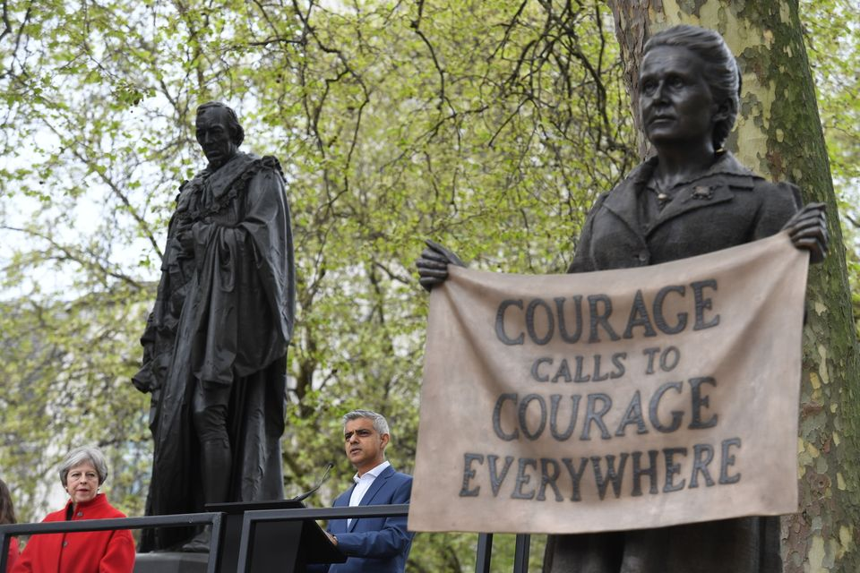 Prime Minister Theresa May and Mayor of London Sadiq Khan at the unveiling of the statue of suffragist...