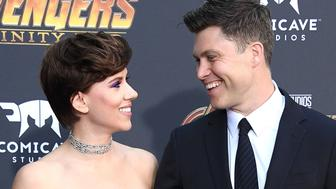 LOS ANGELES, CA - APRIL 23: Scarlett Johansson, Colin Jost arrives at the Premiere Of Disney And Marvel's 'Avengers: Infinity War' on April 23, 2018 in Los Angeles, California.  (Photo by Steve Granitz/WireImage)