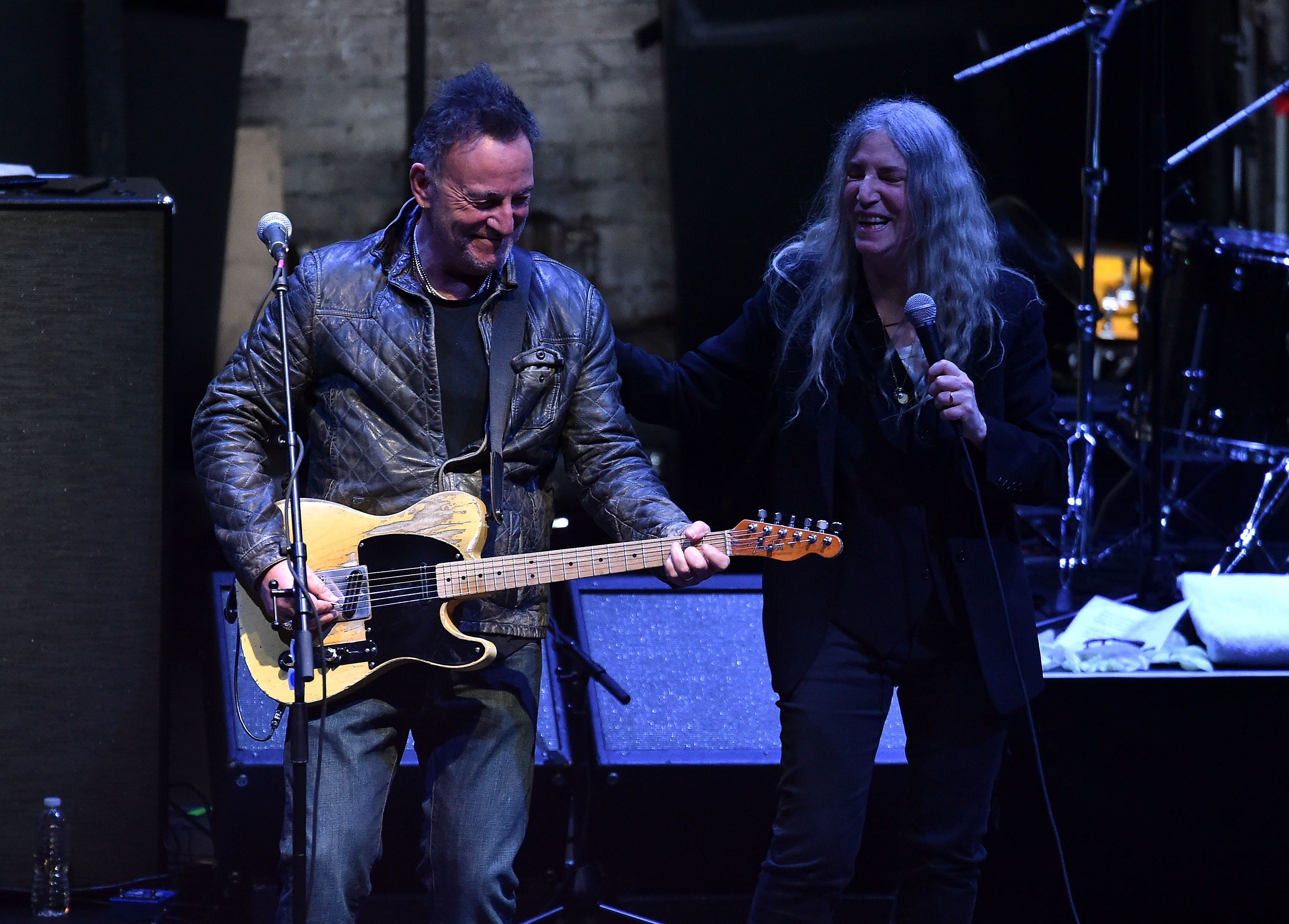 NEW YORK, NY - APRIL 23:  Bruce Springsteen and Patti Smith perform at 'Horses: Patti Smith and Her Band' - 2018 Tribeca Film Festival at Beacon Theatre on April 23, 2018 in New York City.  (Photo by Theo Wargo/Getty Images for Tribeca Film Festival)