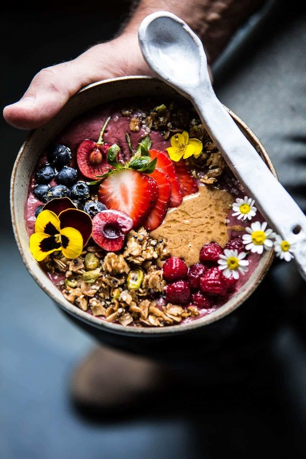"""<strong>Get the <a href=""""https://www.halfbakedharvest.com/peanut-butter-acai-bowl/?highlight=smoothie%20bowl"""" target=""""_blank"""""""