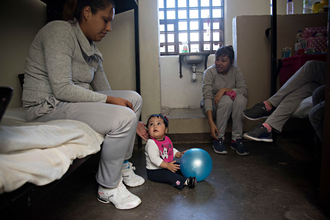 Isaura is 9 months old. She lives in a cell with her mother and two other inmates.