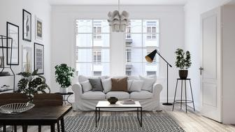 Scandinavian interior design living room 3d render with mix of white and brown colors