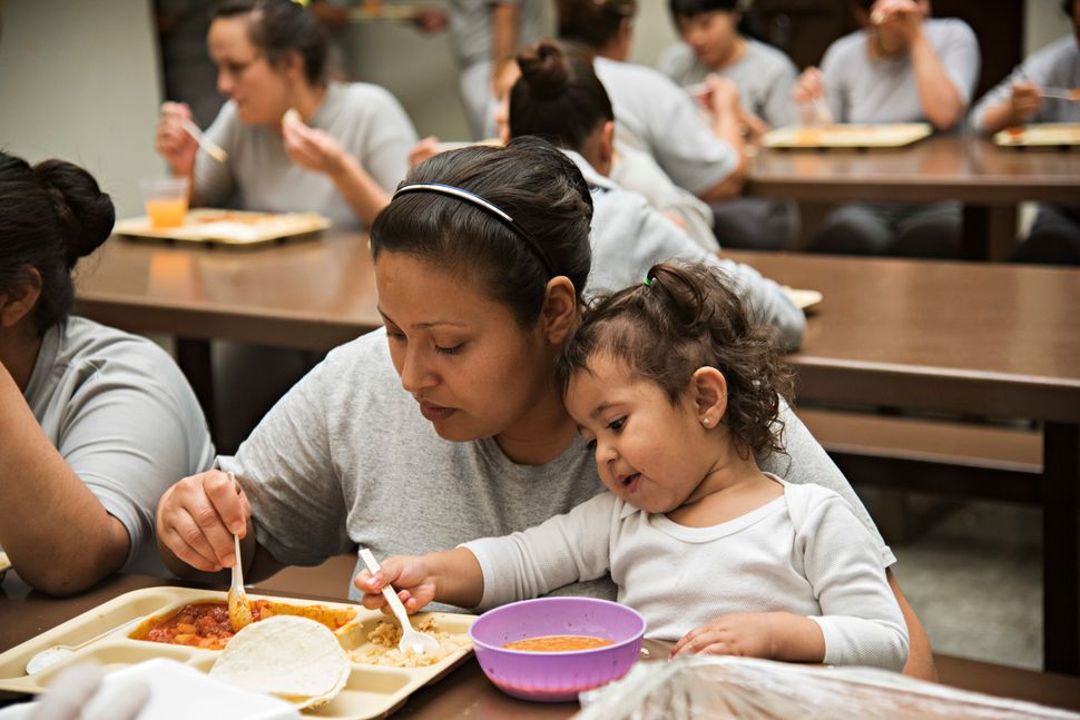 Special meals and baby food are provided for the children who live in the prison with their moms.