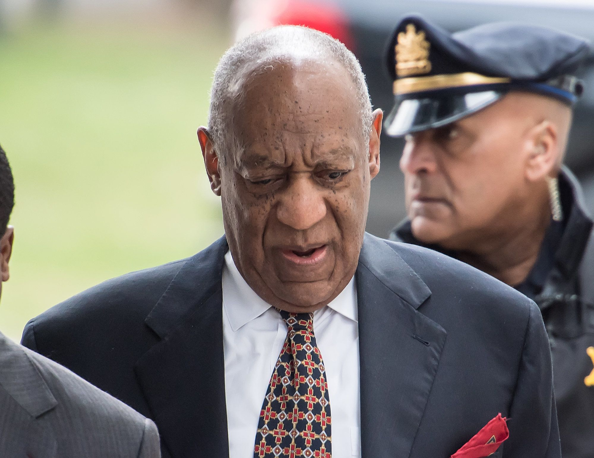Cosby outside of the Montgomery County Courthouse during the fifth day of his retrial on April 13,