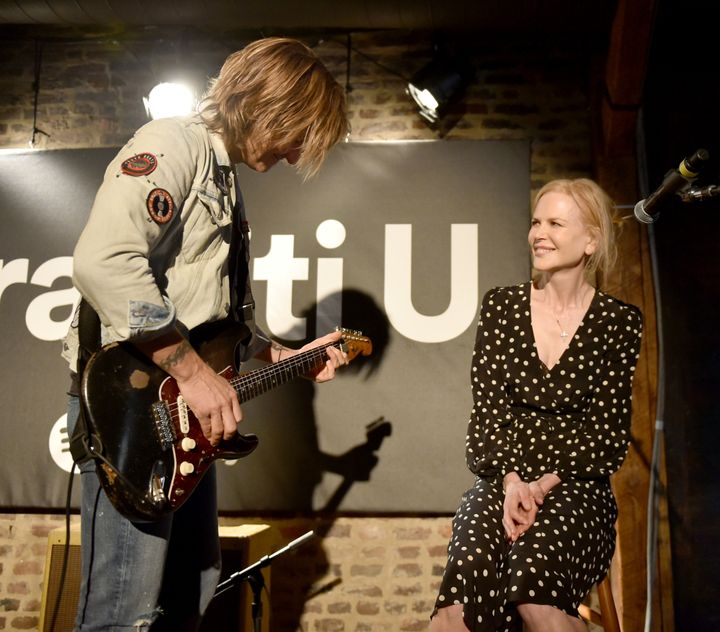 Keith Urban and wife Nicole Kidman perform onstage for a Spotify event in Nashville, Tennessee.