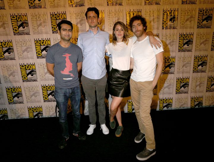 """Actors Kumail Nanjiani, Zach Woods, Amanda Crew and Thomas Middleditch attend HBO's """"Silicon Valley"""" Panel during Comic-Con International 2016 on July 21, 2016 in San Diego, California."""