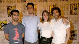 SAN DIEGO, CA - JULY 21: Actors Kumail Nanjiani, Zach Woods, Amanda Crew and Thomas Middleditch attend HBO's 'Silicon Valley' Panel during Comic-Con International 2016 at Hilton Bayfront on July 21, 2016 in San Diego, California.  (Photo by FilmMagic/FilmMagic)