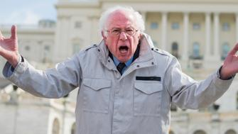 UNITED STATES - MARCH 14: Sen. Bernie Sanders, I-Vt., addresses demonstrators while attending a rally on the West Front of the Capitol to call on Congress to act on gun violence prevention during a national walkout by students on March 14, 2018. (Photo By Tom Williams/CQ Roll Call)