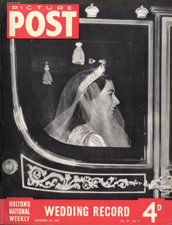The cover of a special royal wedding edition of Picture Post magazine, showing Elizabeth arriving at Westminster Abbey.