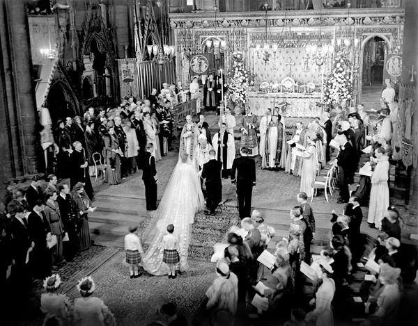 The scene at the altar steps during the royal wedding ceremony.