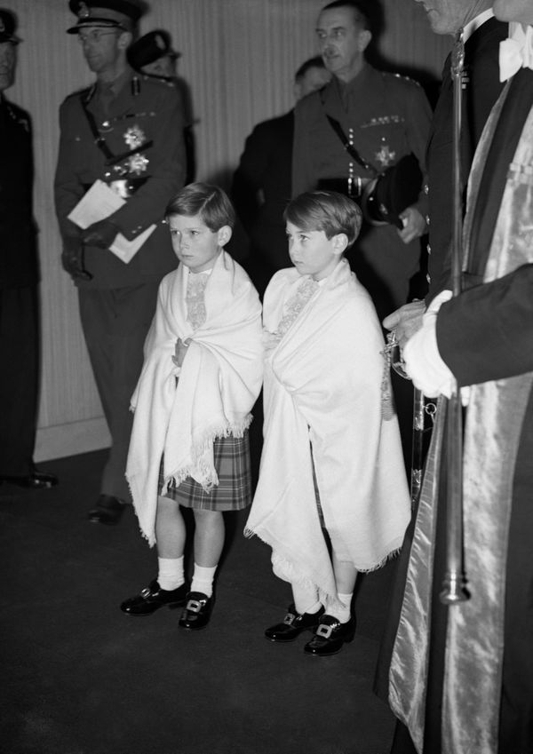That 15-foot train was held by two 5-year-old pages, Prince William of Gloucester and Prince Michael of Kent, who wore <a hre