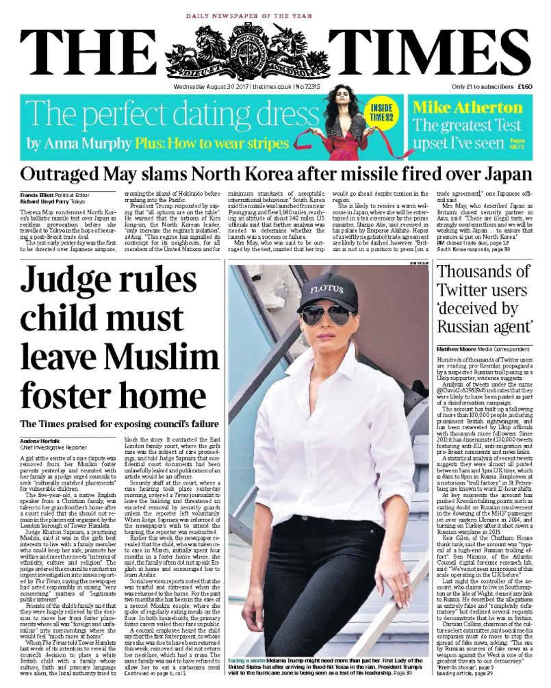 The Times front page August 30,