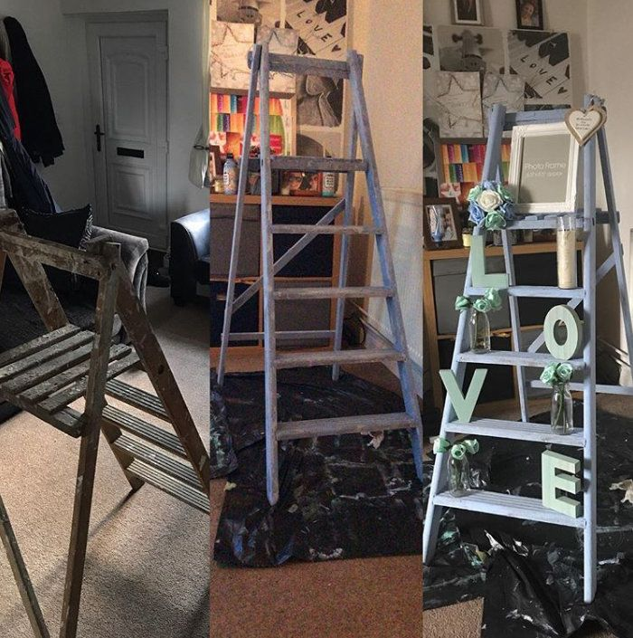The memory ladder from left to right: how Emma bought it, painted and