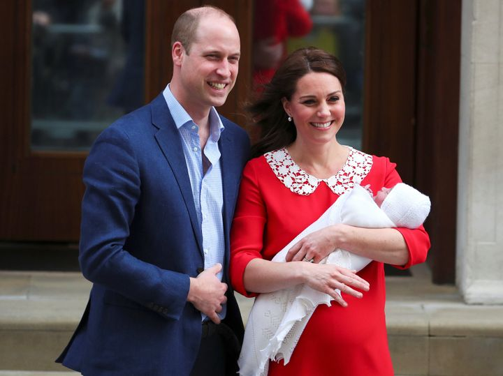 The Duke and Duchess of Cambridge leaving the Lindo Wing of St. Mary's Hospital with their new son on April 23.