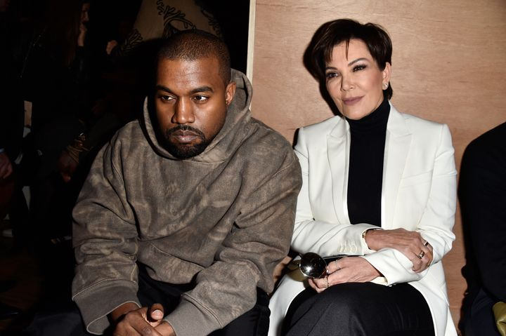 Kanye West and Kris Jenner attend the Givenchy show at Paris Fashion Week in 2016.