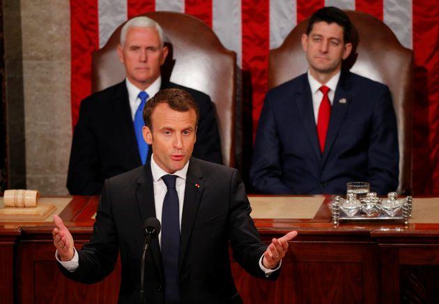 Emmanuel Macron addressing the US Congress on