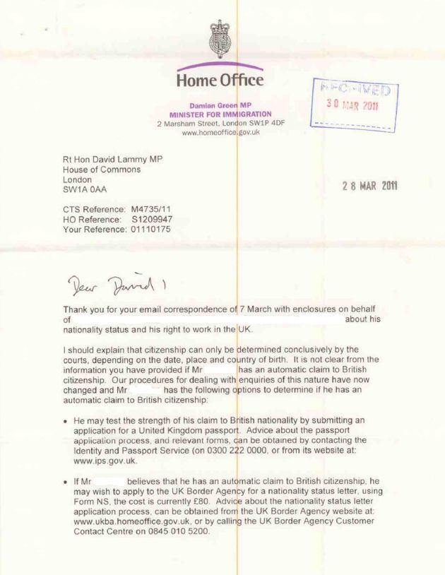 'It is not clear… if Mr O'Grady has an automatic claim to British citizenship'. Damian Green writes to David Lammy about his constituent in March 2011