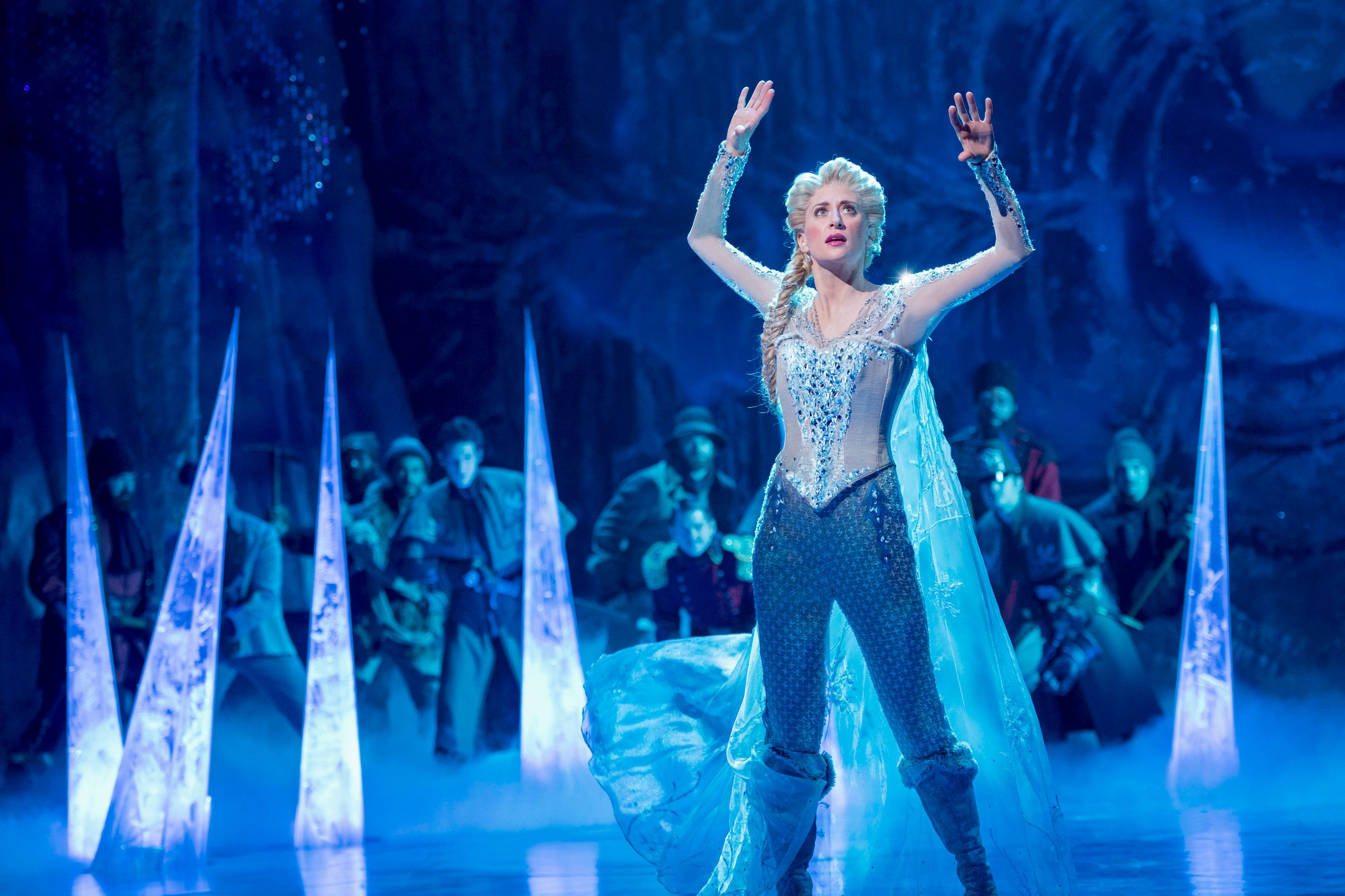"Broadway's Caissie Levy wears pants as Queen Elsa in ""Frozen,"" which opened March 22 on Broadway."