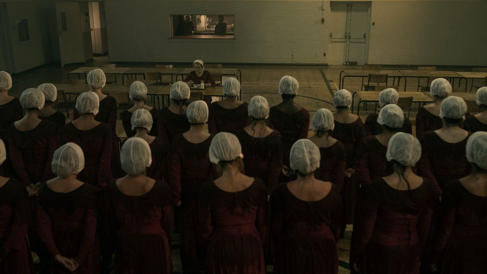 A gathering of handmaids in the Season 2 premiere.